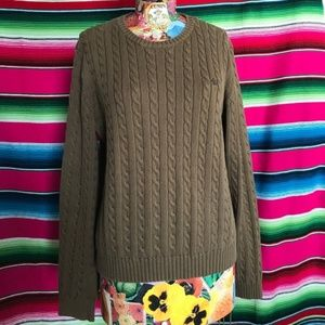 LRL Cable Knit Crew Neck Embroidered Sweater
